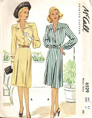 40's Vintage McCall 6529 Inverted Pleat Dress Pattern