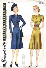 Vintage 1939 Simplicity Tailored Dress Pattern Bust 36