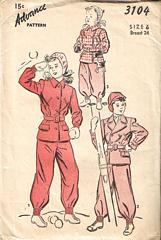 Vintage Advance Snow Leggings Jacket Pattern 3104 Size 6
