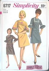 60's Vtg Simplicity 6717 Two Piece Dress Pattern Bust 34