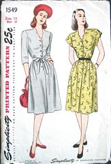 40's Vtg Simplicity1549 Scallop Detail Dress Pattern Bust 32