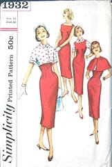 Simplicity 1932 Vintage Sheath, Jacket Cape Pattern Bust 34
