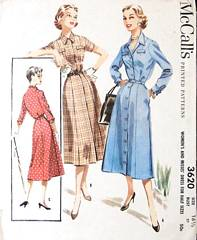Button Front Shirtdress Vintage 1950's McCall's 3620 Pattern B37