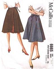 Vintage Sixties Wrap Skirt Pattern Waist 24-25