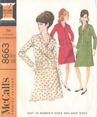 Vintage Sixties Suit Pattern McCall's 8663 Bust 42