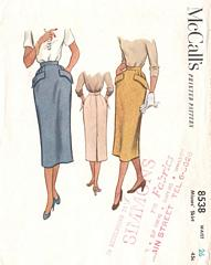 50 s pencil skirt with kick pleat vintage 50 s pattern