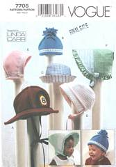 Vogue 7705 Six Baby Hats Pattern
