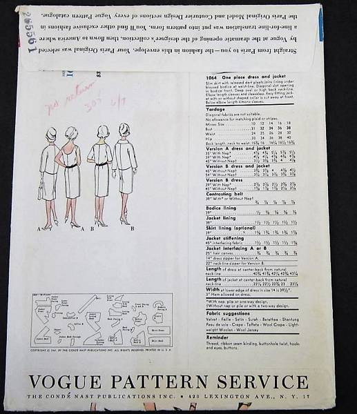 Desses Vogue 1064 Dress and Jacket Pattern Bust 36