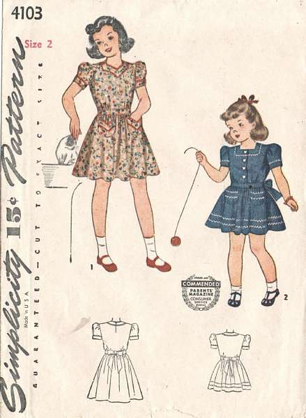 1940's Simplicity 4103 Girls Dress Pattern Size 2