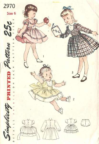 1940's Simplicity 2970 Dress and Panties Pattern Girls Sz 6