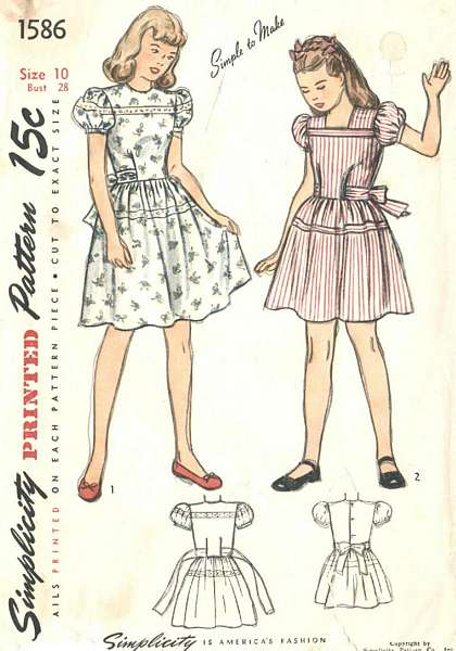 1940's Simplicity 1586 Girls Dress Pattern Size 10