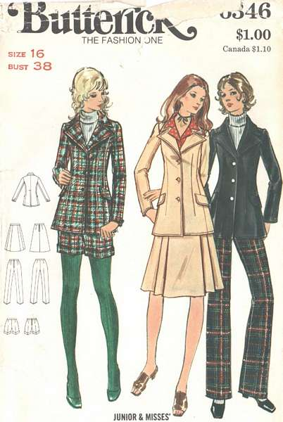 1970\'s Hot Pants, Blazer, Skirt, Pants Pattern Bust 38 : Vintage ...