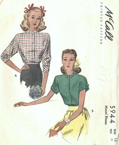 1940's Vintage McCall's 5944 Blouse Pattern Bust 34