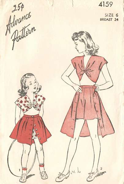 1940's Advance 4159 Girls Topper, Shorts, Skirt Pattern Sz 6
