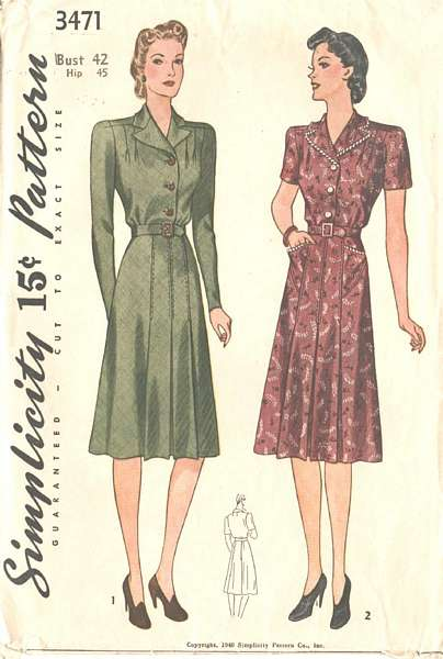 1940's Simplicity 3471 Tailored Dress Pattern Bust 42
