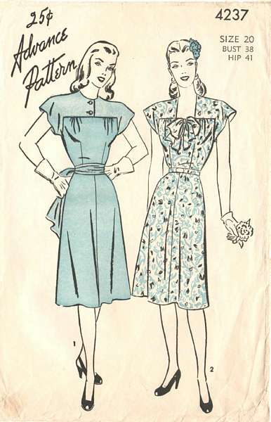 Vintage Advance 4237 Yoke Dress Pattern Bust 38