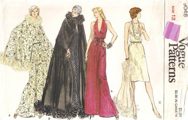 Vintage Vogue Cape and Halter Dress Pattern Bust 34