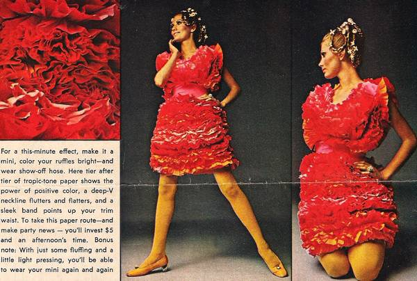 1960's Crepe Paper Party Dresses Pattern Sizes S, M