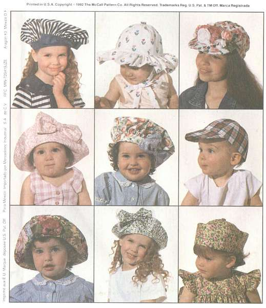 McCall's 6210 Nine Childrens, Boys, Girls, Infants Hats Pattern