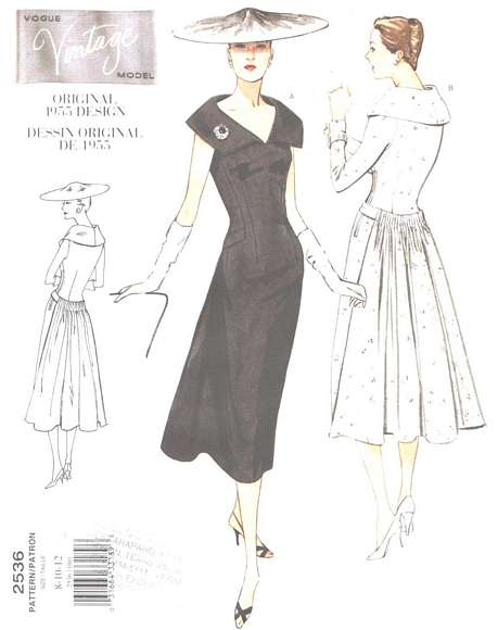 Vogue 2536 Vintage Model Dress Pattern 8, 10, 12
