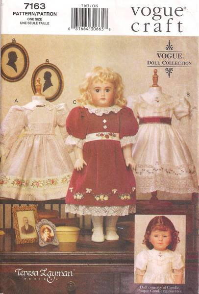 Vogue 7163 / 695 Heirloom Doll Clothes Pattern 18""