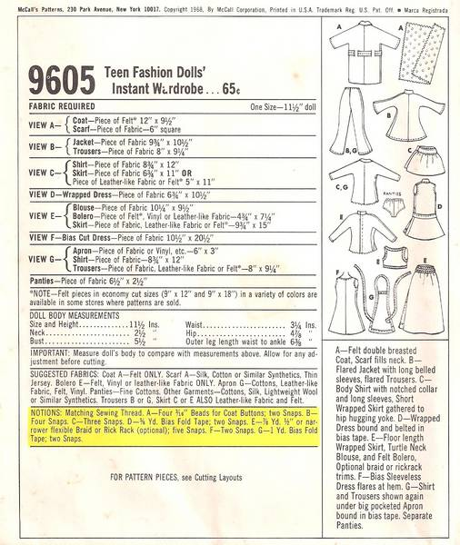 Vintage 1960's McCall's 9605 Barbie Clothes Pattern