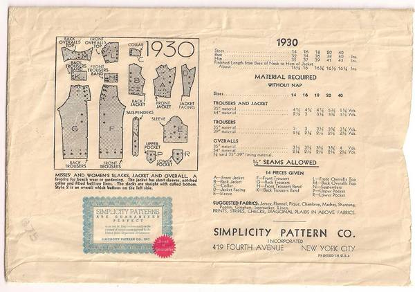 1930's Trousers, Jacket and Overalls Pattern Bust 38
