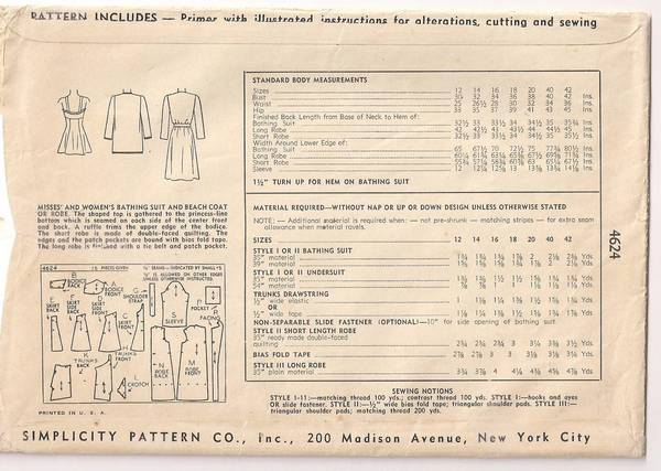 1940's Simplicity 4642 Bathing Suit and Beach Coat Pattern B30