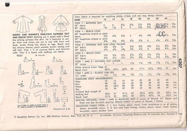 1950's Simplicity 4307 Bathing Suit and Beach Coat Pattern B32 - Click Image to Close