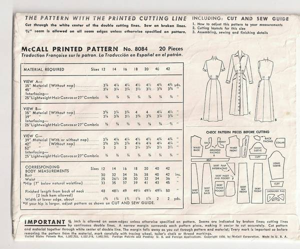 1950's McCall 8084 Chic Front Buttoned Dress Pattern Bust 36