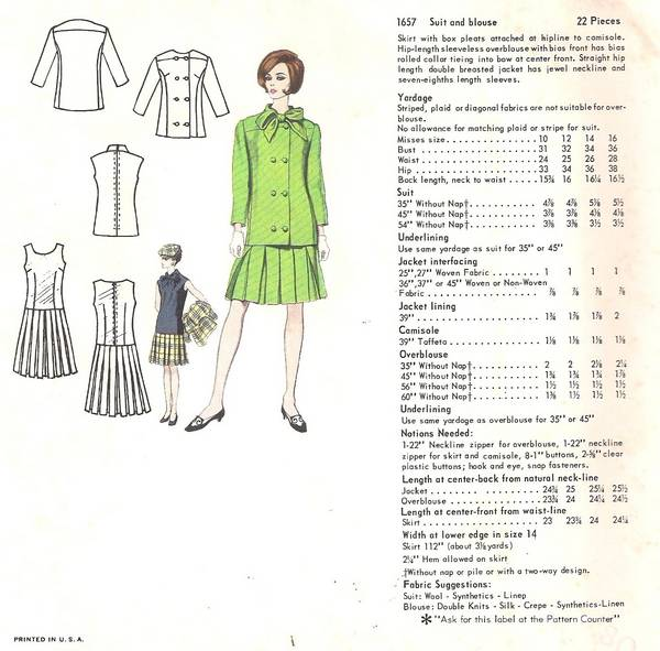 Jacques Heim Vogue 1657 Suit and Blouse Pattern B32 - Click Image to Close