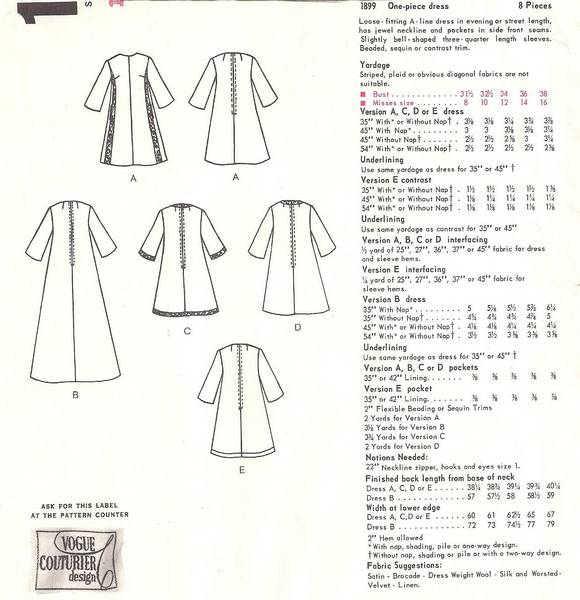 Fabiani Vogue 1899 Couturier Evening Dress Gown Pattern B36 - Click Image to Close
