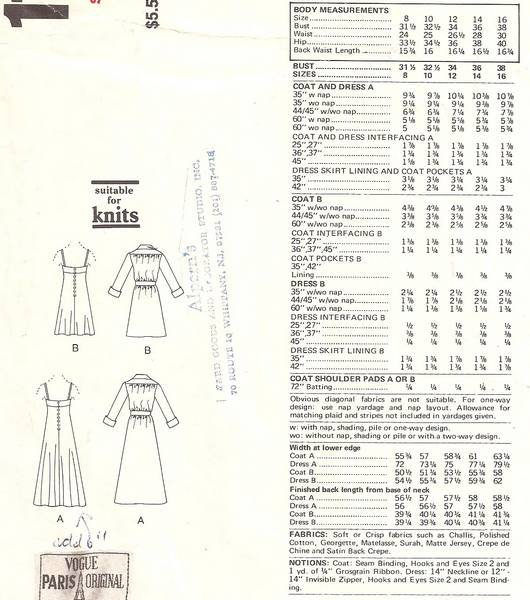 Christian Dior Vogue 1136 Evening Coat and Dress Pattern B36 - Click Image to Close