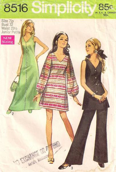 1960's V Neck Gown, Dress, Tunic, Pants Pattern Jr Pt Bust 32