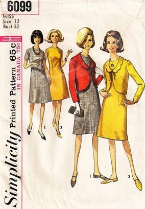 1960's A Line Dress and Shaped Jacket Simplicity 6099 Pattern