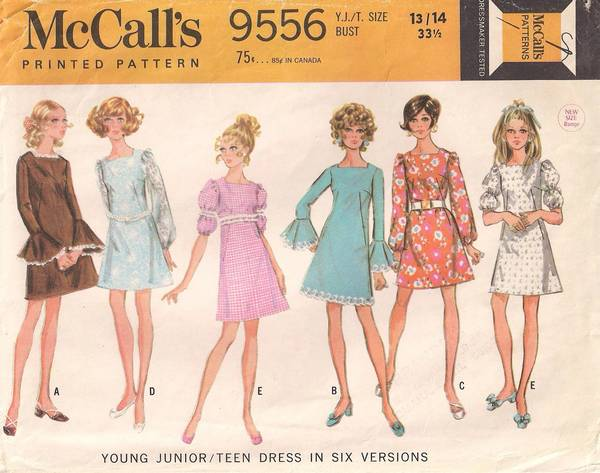 1960's McCall's 9556 Dress with Variations Pattern Bust 33.5