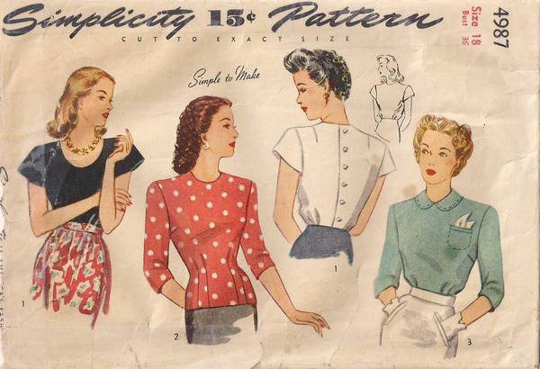 1940's WWII Era Simplicity 4987 Blouses Pattern Bust 36