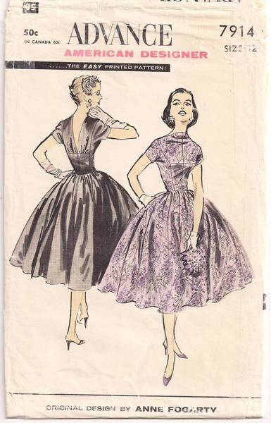1950's Advance 7914 Anne Fogarty Dress Pattern B30