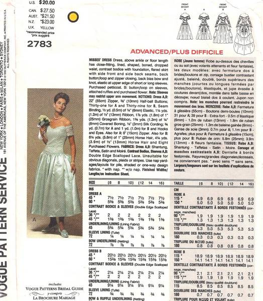 Vogue 2783 Bridal Original Victor Costa Pattern 6, 8, 10