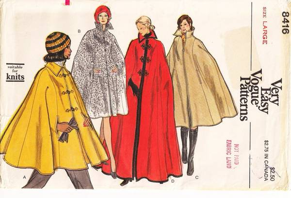1970's Vogue 8416 Cape in Four Lengths Bust 38-40