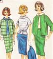 1960's Pencil Skirt, Jacket, Blouse Pattern B36