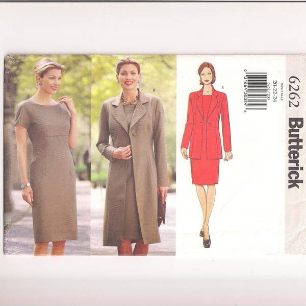 Butterick 6262 Fitted Dress, Princess Seam Jacket Pattern 20-24