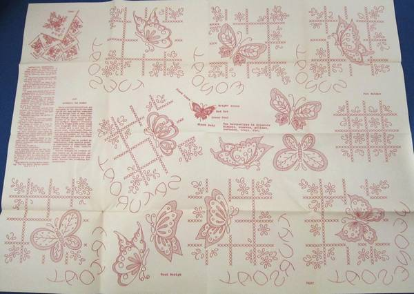 Vintage Workbasket Red Transfer Pattern Sheet Butterflies