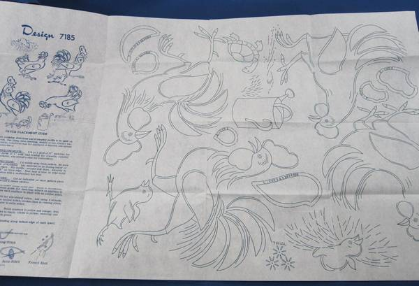Vintage Blue Transfer Rooster Design 7185 Pattern