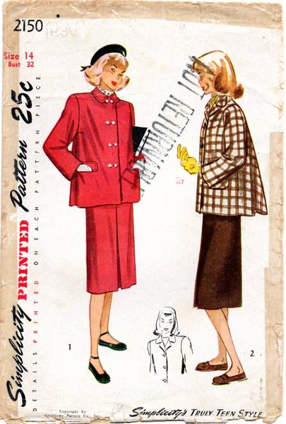 1940's Back Flare Box Jacket and Skirt Pattern Bust 32