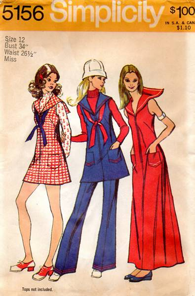 70's Simplicity 5156 Sailor Dress Bell Bottom Pants Pattern B34 - Click Image to Close