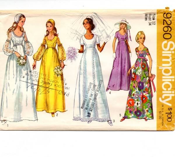 Vtg 70's Simplicity 9260 Wedding Gown and Juliet Cap Pattern B34