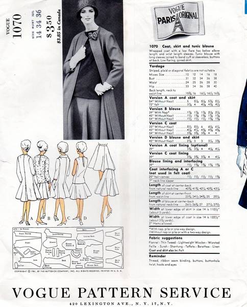 Nina Ricci Vogue 1070 Coat, Skirt, Tunic Blouse 60's Pattern