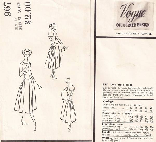 Vintage 1950's Vogue 967 Couturier Design Dress Pattern - Click Image to Close