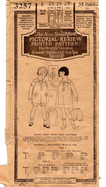 1920's Pictorial Review 3257 Child's Bloomer Dress Pattern Sz 6